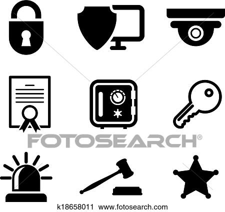 clipart of safety and security icons set k18658011 search clip art rh fotosearch com security clipart png security clipart black and white