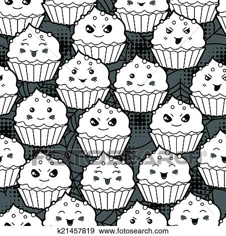 Seamless Halloween Kawaii Dessin Anime Modele A Mignon Cupcakes Clipart K21457819 Fotosearch