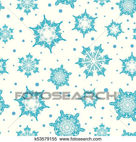 Vector Holiday Light Blue Hand Drawn Christmass Snowflakes