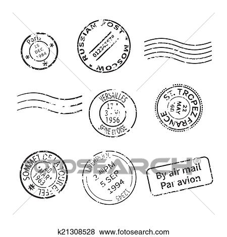 clip art of vector set of vintage style post stamps from countries