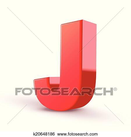 Clip Art Of 3d Red Letter J K20648186 Search Clipart Illustration