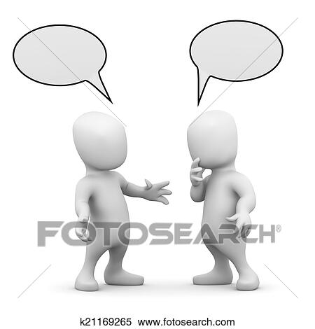 stock illustration of 3d two little men talking to each other