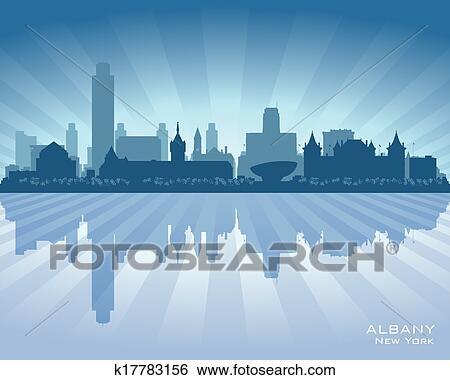 Albany New York City Skyline Vector Silhouette Clip Art K17783156