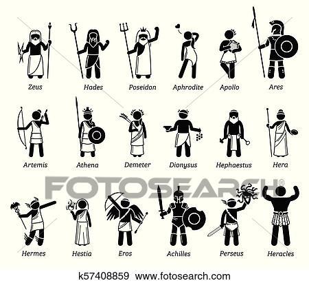 Ancien Mythologie Grecque Dieux Deesses Caracteres Icone Ensemble Clipart K57408859 Fotosearch