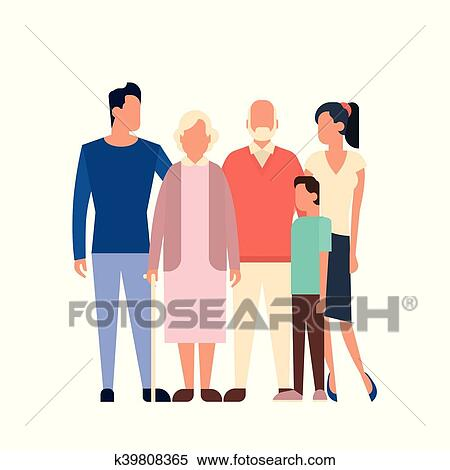 clipart of big family kids parents grandparents generation k39808365 rh fotosearch com big happy family clipart big family dinner clipart