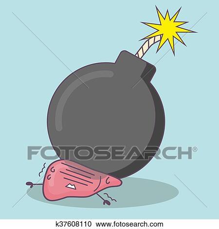 clipart - caricatura, hígado, con, bomba k37608110 - buscar clip art