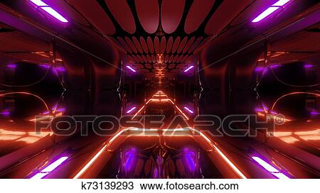 Glowing Futuristic Horror Sci Fi Temple With Nice Reflection
