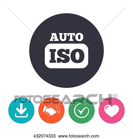 ISO Auto photo camera sign icon  Settings symbol Clipart