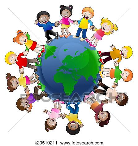 clipart of kids around the world k20510211 search clip art rh fotosearch com kids around the world clip art editable Missions around the World