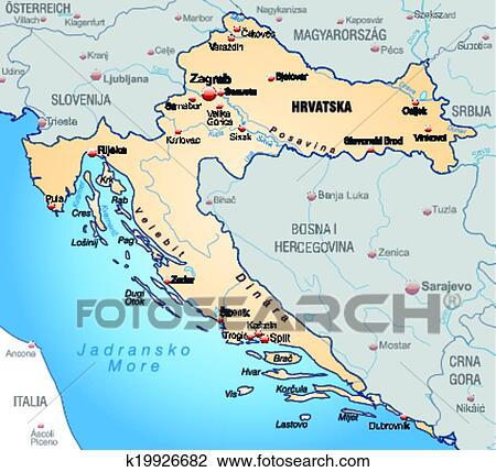 Map of Croatia Clipart | k19926682 | Fotosearch