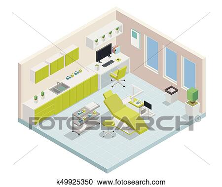Clipart Of Modern Green Isometric Dental Clinic Interior Design