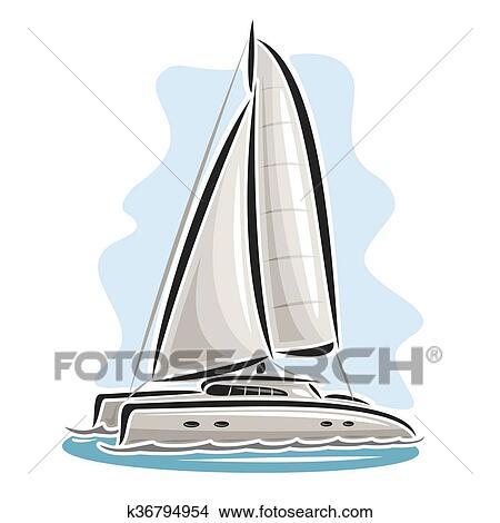 Vecteur Logo Voile Catamaran Clipart K36794954 Fotosearch