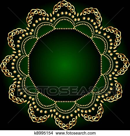 Illustration Green Frame Background With Golden Pattern