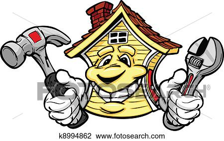Clipart Of Happy House Holding Repair Tools K8994862 Search Clip