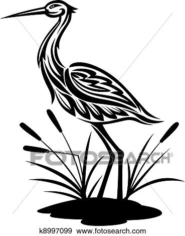 clip art of heron on the bog landscape k8997099 search clipart rh fotosearch com hero clipart blue heron clipart black and white