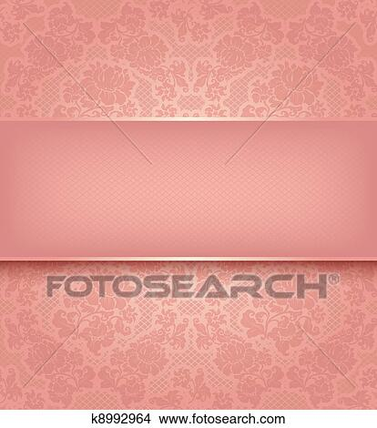 Clipart of Lace template, ornamental pink flowers background ...
