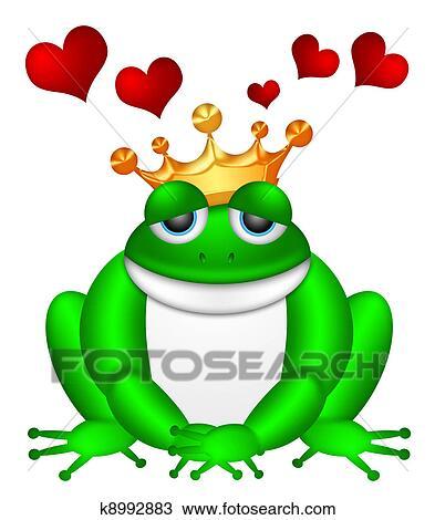Grenouille Couronne dessin - mignon, grenouille verte, à, couronne, illustration