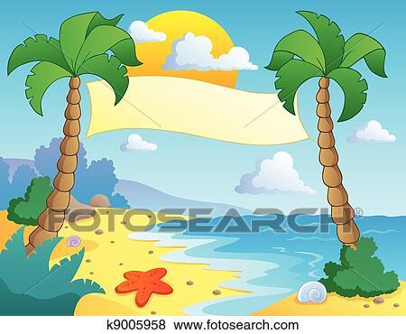 Beach Theme Scenery 4 Vector Ilration