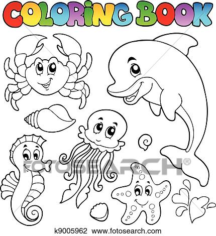 clipart coloring book various sea animals 2 fotosearch search clip art illustration - Coloring Book Animals