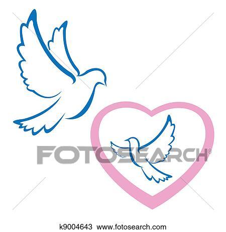 Clipart Of Dove Love Symbol K9004643 Search Clip Art Illustration