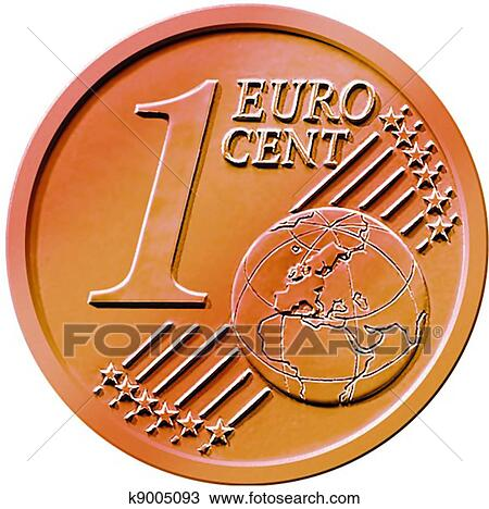 Illustration Of An One 1 Cent Euro Coin Isolated On A White Background