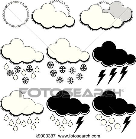 Clip Art Of Symbols For Weather Forecasters K9003387 Search