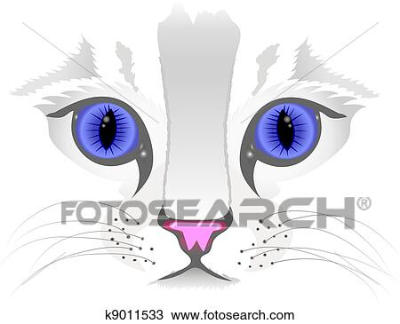 clipart cima de gato rosto k9011533 busca de ilustrações
