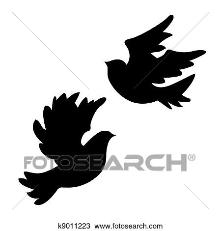 Dove silhouette on white background, vector illustration Clipart