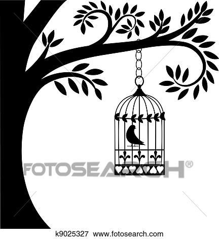 Dessin Oiseau En Cage clipart - cage oiseau, et, arbre k9025327 - recherchez des cliparts