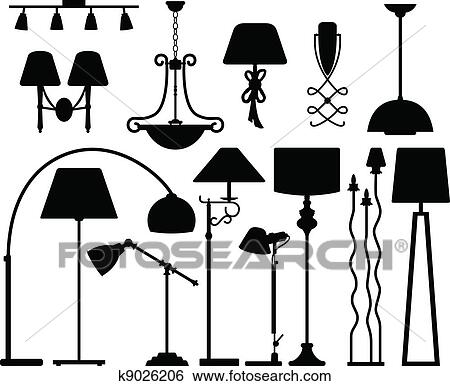 A Set Of Lamp Light Design In Silhouette