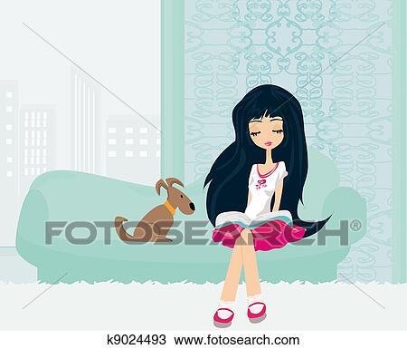 Menina Adolescente Lendo Um Livro Desenho K9024493 Fotosearch