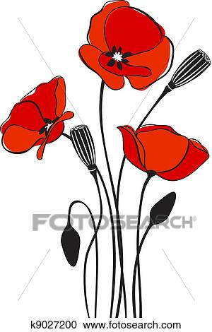 Clipart of poppy floral background k9027200 search clip art abstract floral red poppy card illustration mightylinksfo