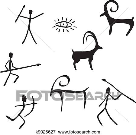 clip art of primitive figures looks like cave painting k9025627 rh fotosearch com cave clipart png cave clipart inside