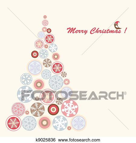 d6393b32bc1ab Clip Art - Stylized retro christmas tree with snowflake.. Fotosearch