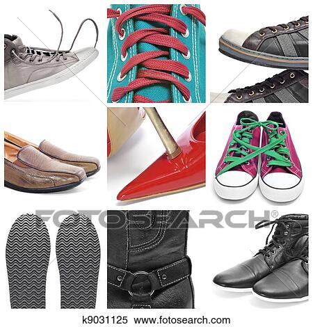 889729e3229 Ένα, κολάζ, από, εννέα, εικόνες, από, διαφορετικός, παπούτσια, και, πάνινα  παπούτσια