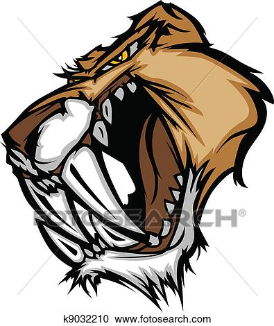Clipart puma sabre dent chat mascotte t te k9032210 recherchez des clip arts des - Dessin de sabre ...