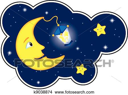 Moonlight Night In Cloud Frame Clipart K9038874 Fotosearch