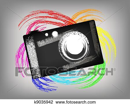Grunge Camera Vector : Clipart of the grunge camera k9035942 search clip art