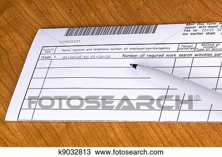 stock photo of unemployment work search log paper k9032813 search