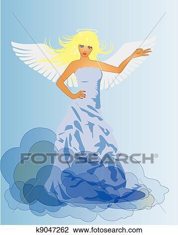天使 そして 悪魔 レトロ 女 クリップアート切り張りイラスト