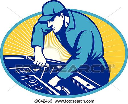 clipart of auto mechanic car repair retro k9042453 search clip art rh fotosearch com