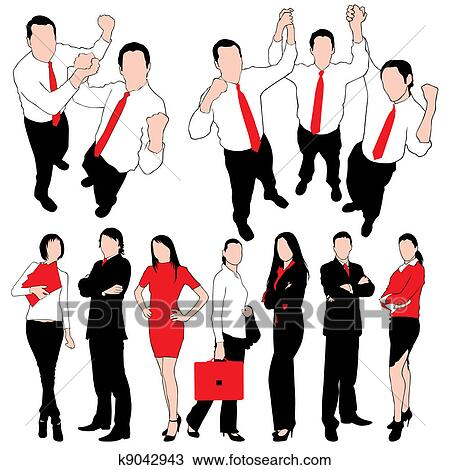 clipart of business people silhouettes set iso k9042943 search rh fotosearch com