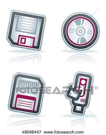 Clip Art Of Computer Parts K9046447 Search Clipart Illustration