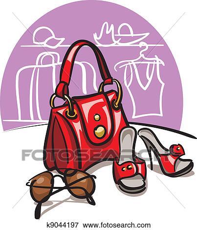 Femme, sac main, chaussures, et, sunglasse Clipart