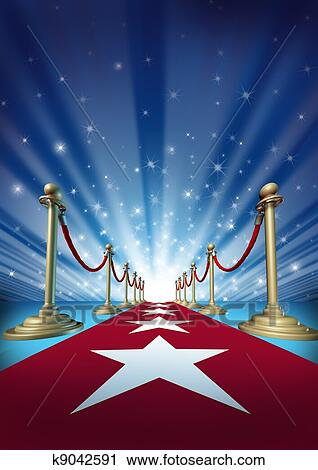 Red carpet with lights
