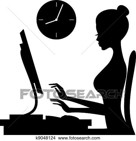 clipart of woman at work k9048124 search clip art illustration