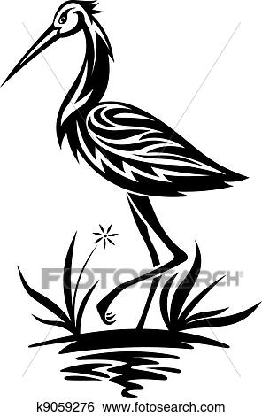 clip art of heron on the pond and cane k9059276 search clipart rh fotosearch com heron bird clipart heron clipart black and white