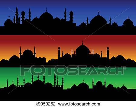 Clipart - soir, cityscape, de, musulman, oriental, villes k9059262 ...