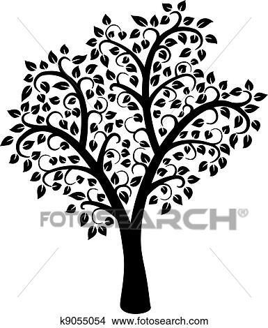 clipart vecteur noir blanc arbre k9055054 recherchez des clip arts des illustrations des. Black Bedroom Furniture Sets. Home Design Ideas