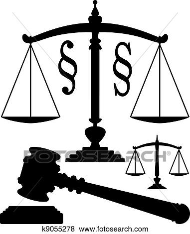 Clip Art Of Vector Scales Of Justice Gavel And Paragraph Symbols